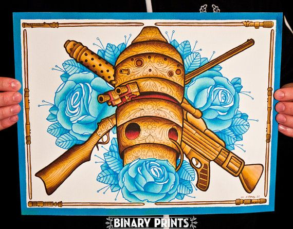 IG88 Assassin Droid art print. Part of a series by Binary Prints that is influenced by Dia De Los Muertos (Day Of The Dead).    Star Wars, Roses.