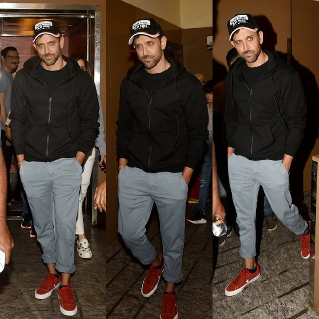 Hrithik snapped post watching movie in Juhu tonight