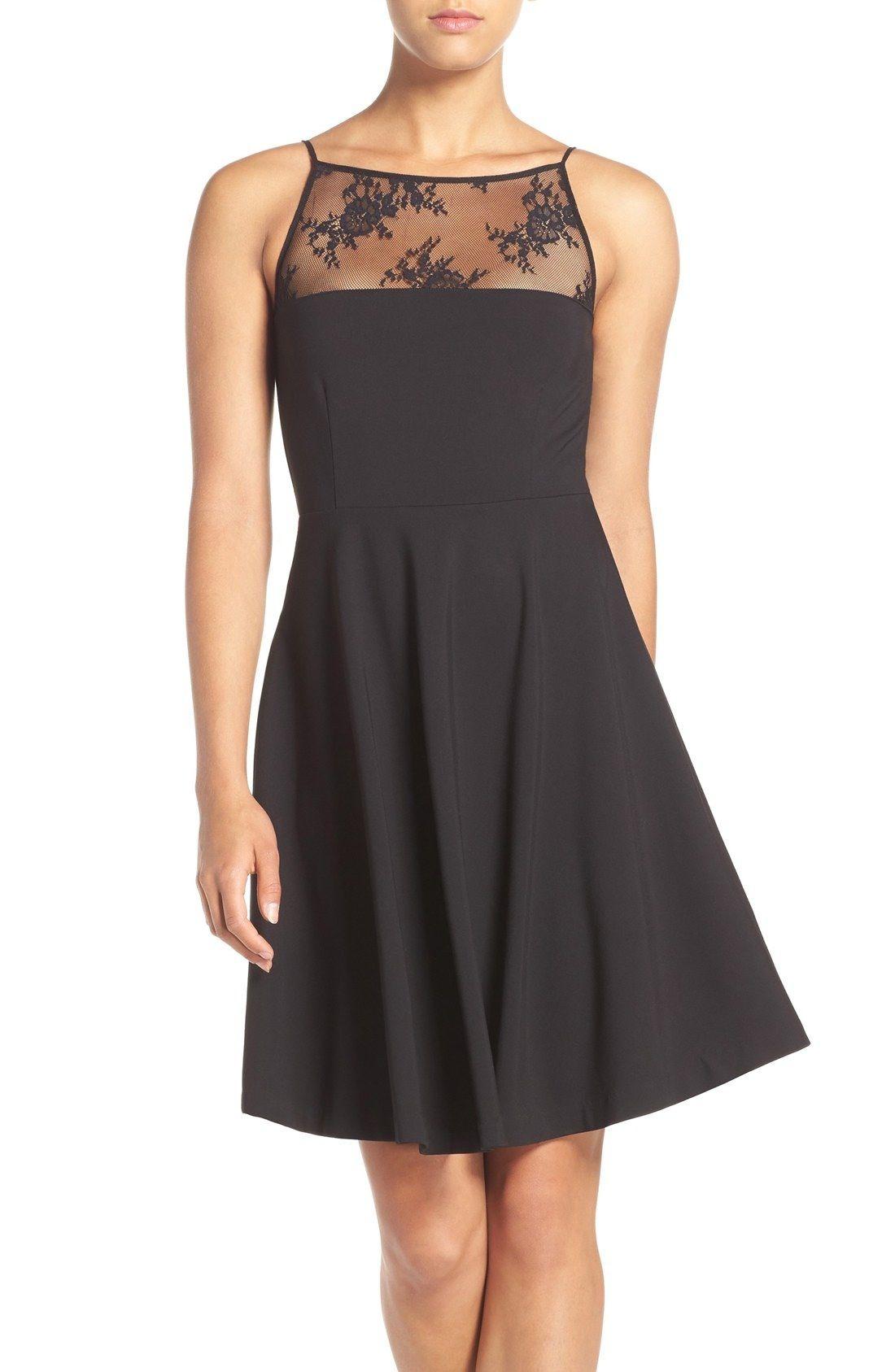 Bb dakota milford lace ponte fit flare dress