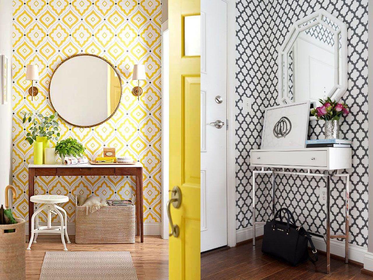 5 Ideas Sobre C Mo Decorar Un Recibidor Peque O Recibidores  ~ Decorar Muebles Con Papel Pintado