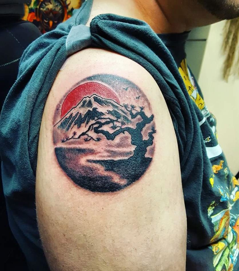 a tattoo of mount Fuji and a cherry blossom. By Big Mike | Mountains ...