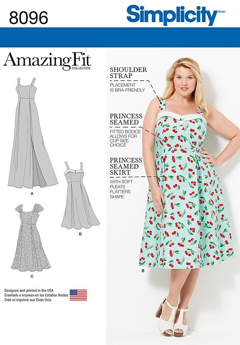 Simplicity 8096 Amazing Fit Plus Size Dresses