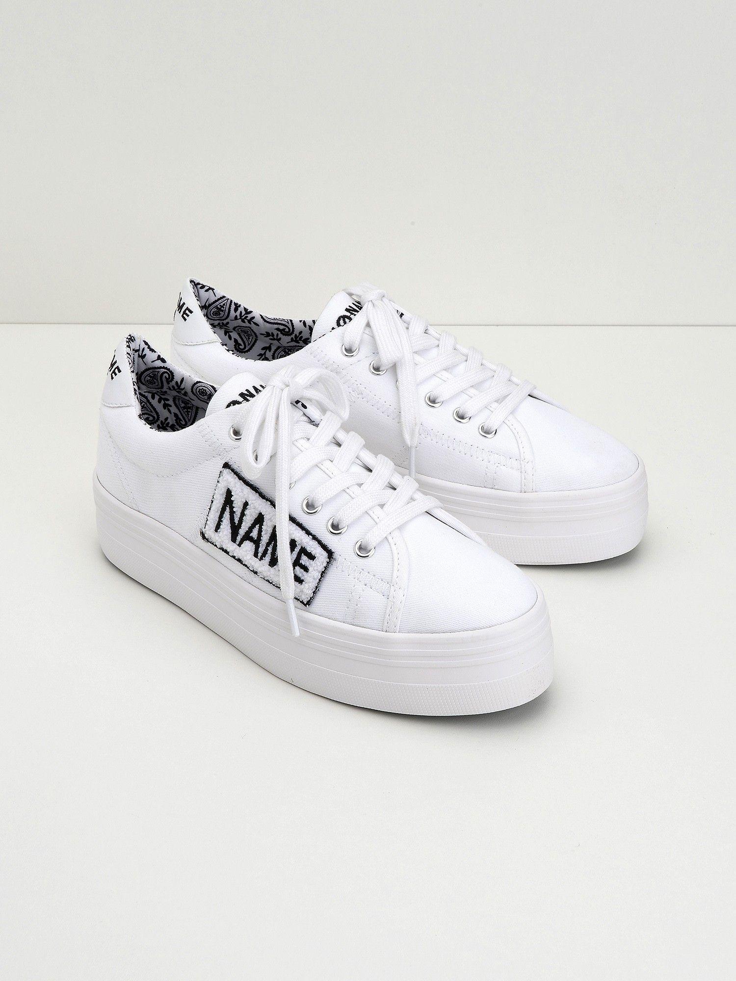 No Name Plato Sneaker - Twill Patch - White   1990 1998 Fashion ... 86ddf41b5f7d