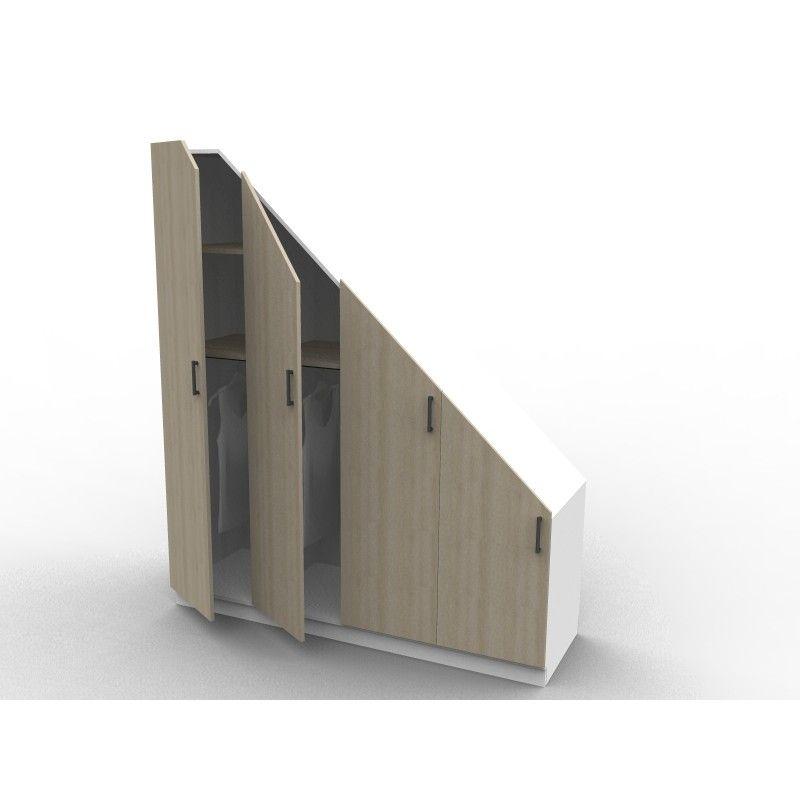 Placard sous escalier s rie isabelle avec 2 penderies tag res portes m lamin ch ne - Porte de placard sous escalier ...