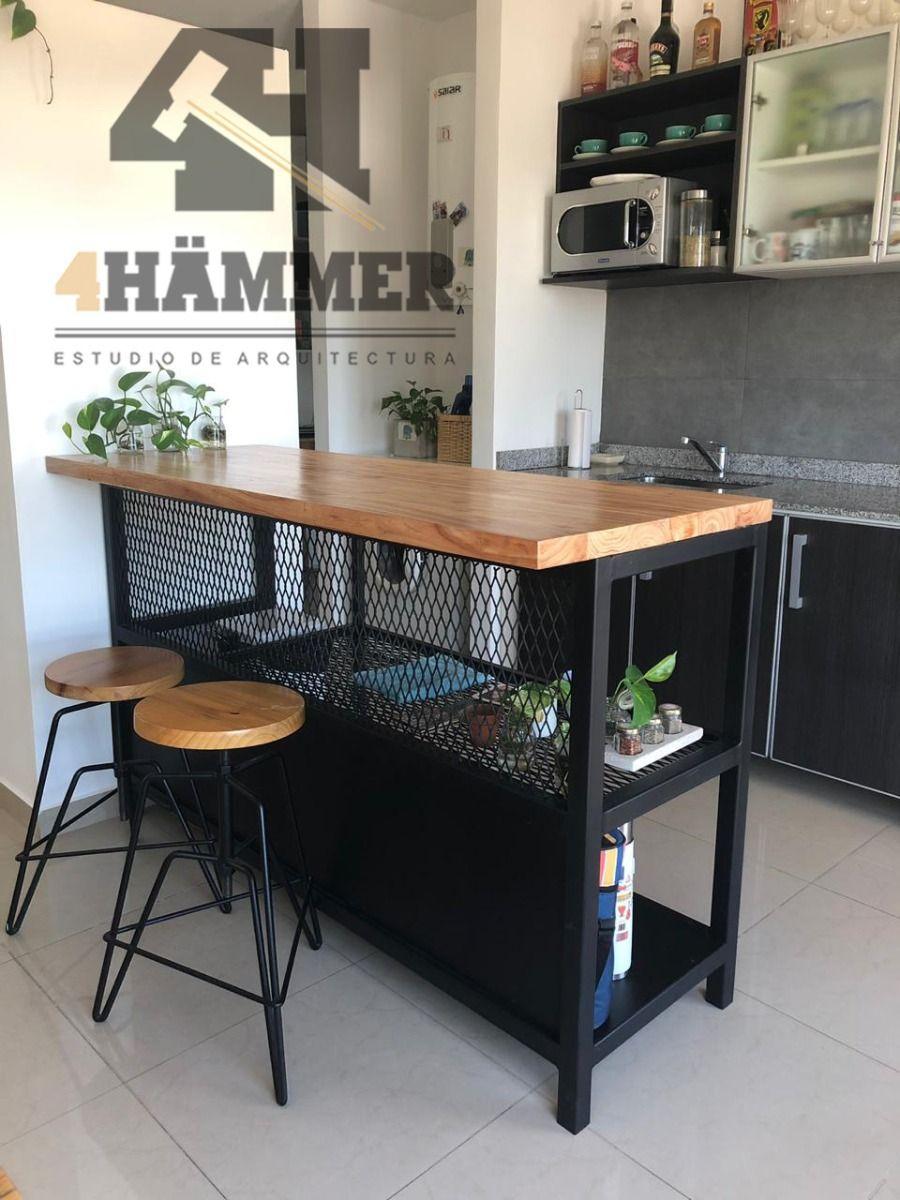 Desayunador Barra Hierro Y Madera Estilo Industrial 20 700 00 Diseño Muebles De Cocina Muebles De Diseño Industrial Muebles De Cocina