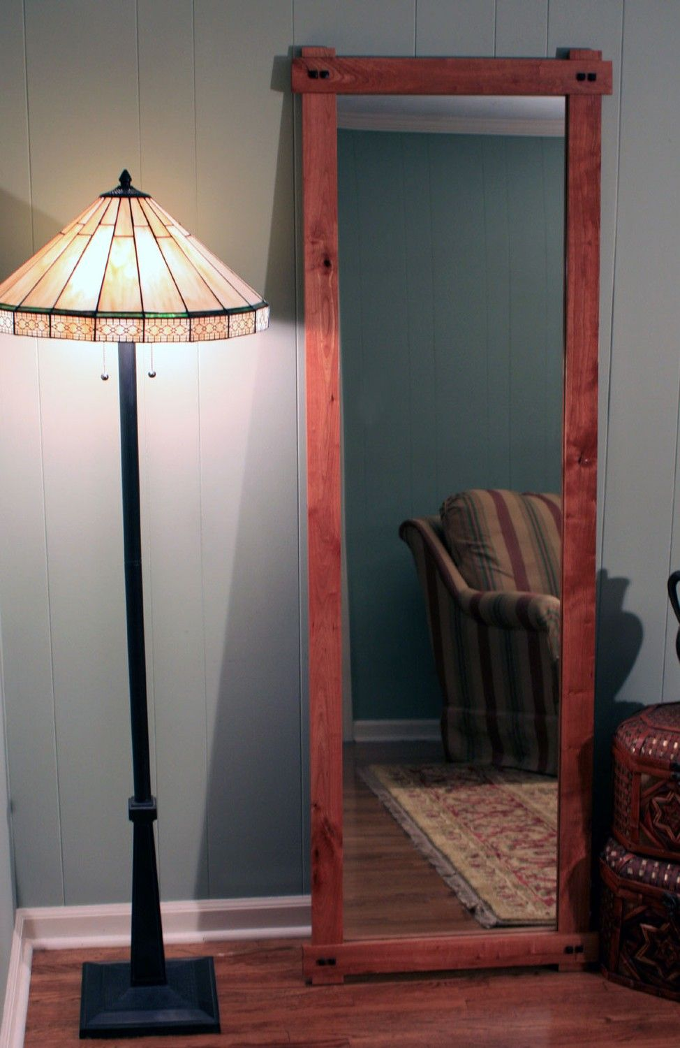 Rustic cherry full length or floor mirror gloss clear for Long wall hanging mirrors