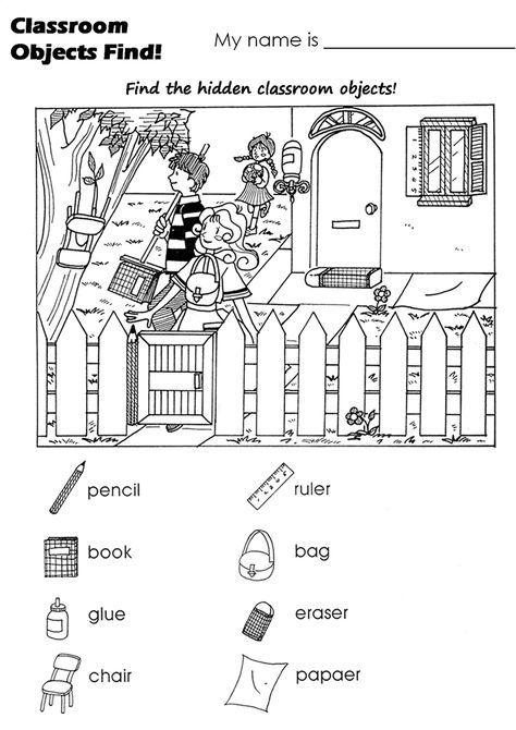 La Escuela de Ingles de Eva: Classroom objects find