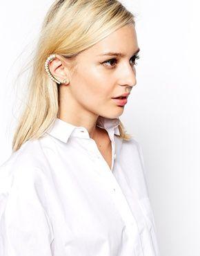 River Island Graduated Faux Pearl Ear Hook Earring