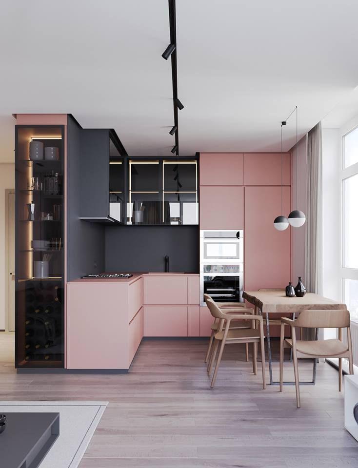 Une cuisine douce et chaleureuse #cuisine #rose #black #décoration ...