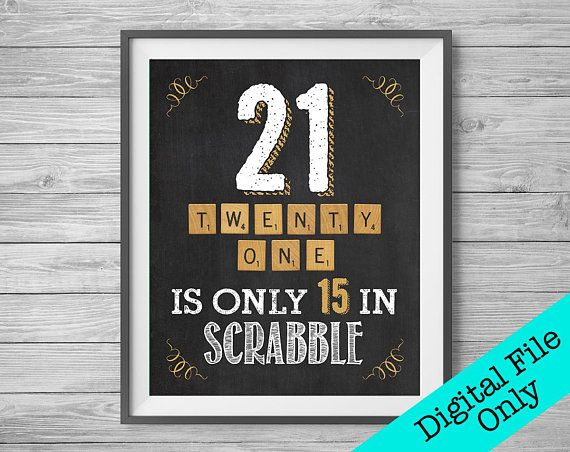 21st Birthday Chalk Sign / 21 is Only 15 / 8x10 and 16x20 / Digital File Only #21stbirthdaysigns
