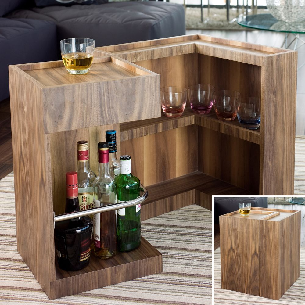 Mini Bar Side Table Walnut How Awesome