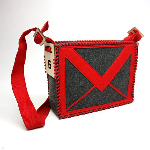 Geekcook DIY Gmail e-mail Felt Shoulder Messenger Bag Hit-color..I would use this to carry the random Valentine cards for the kids to hand out! Soooo Cool!
