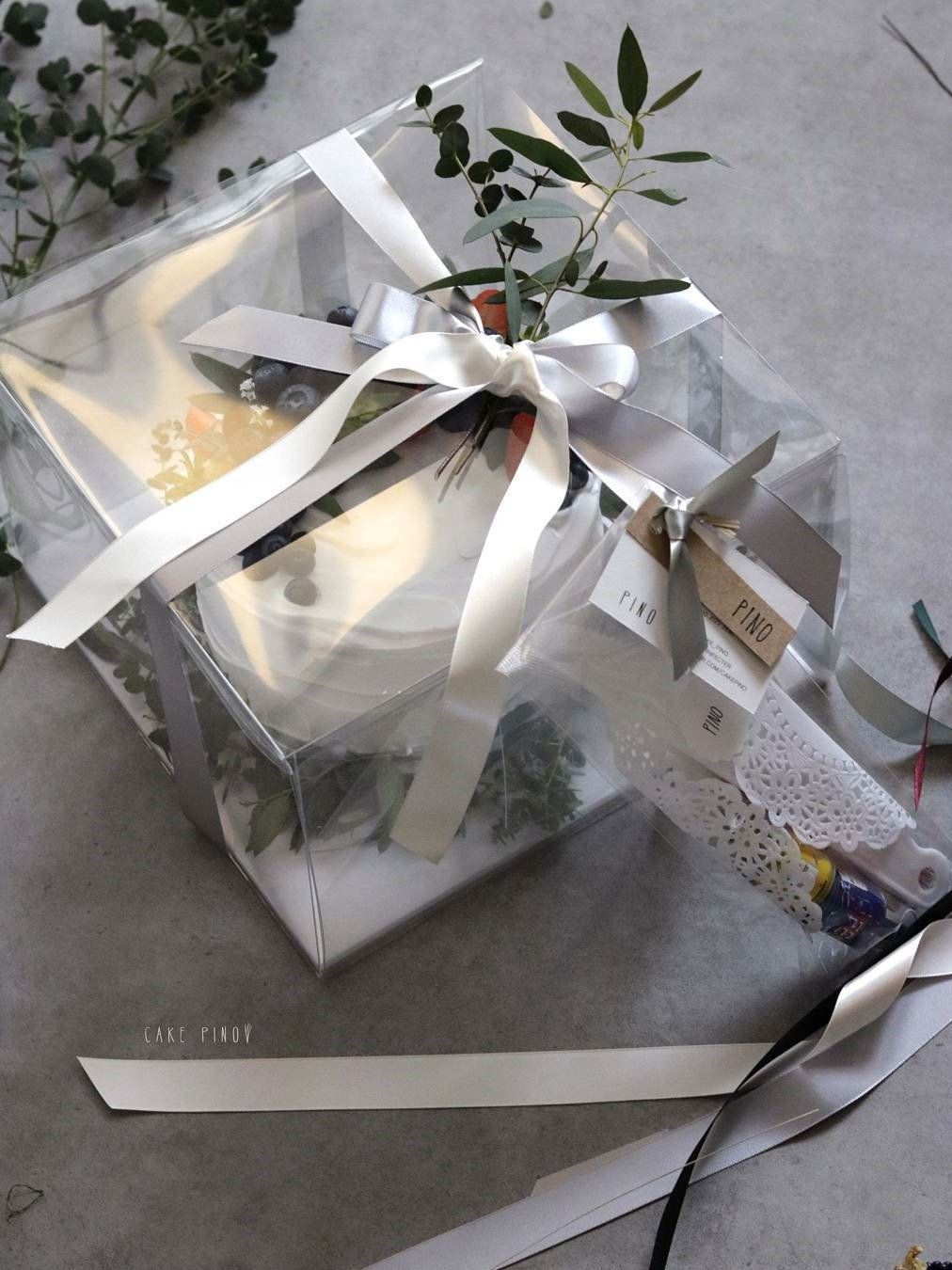 8inches 10inches 12inches cake transparent carrier white
