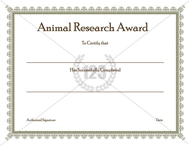 Animal research awards certificate template 123certificate animal research awards certificate template 123certificate templates free premium 123 certificate templates yelopaper Images