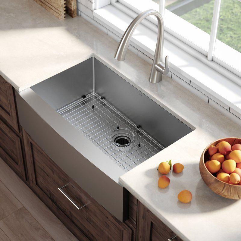33 L X 21 W Farmhouse Apron Kitchen Sink With Basket Strainer