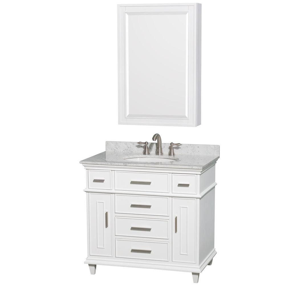 Wyndham Collection Berkeley 36 In. Vanity In White With Marble Vanity Top  In White Carrara