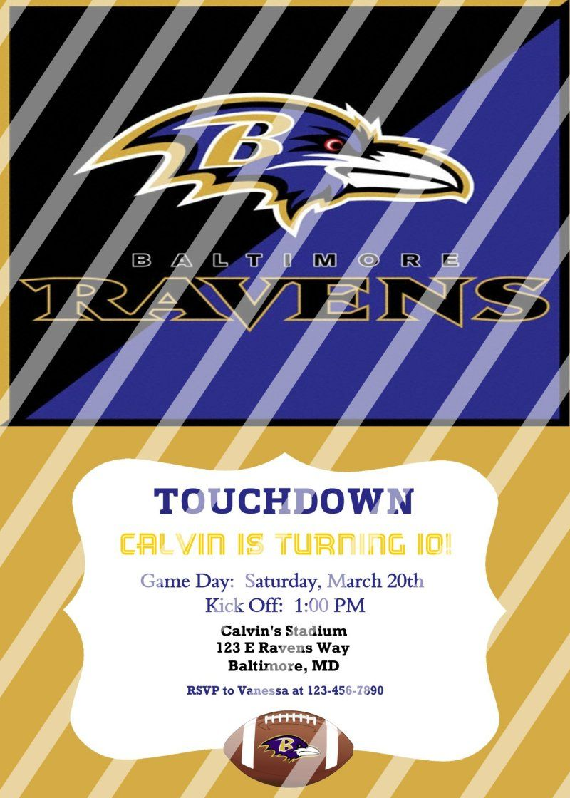 Baltimore Ravens Personalized Party Invitation #34 (digital file you ...