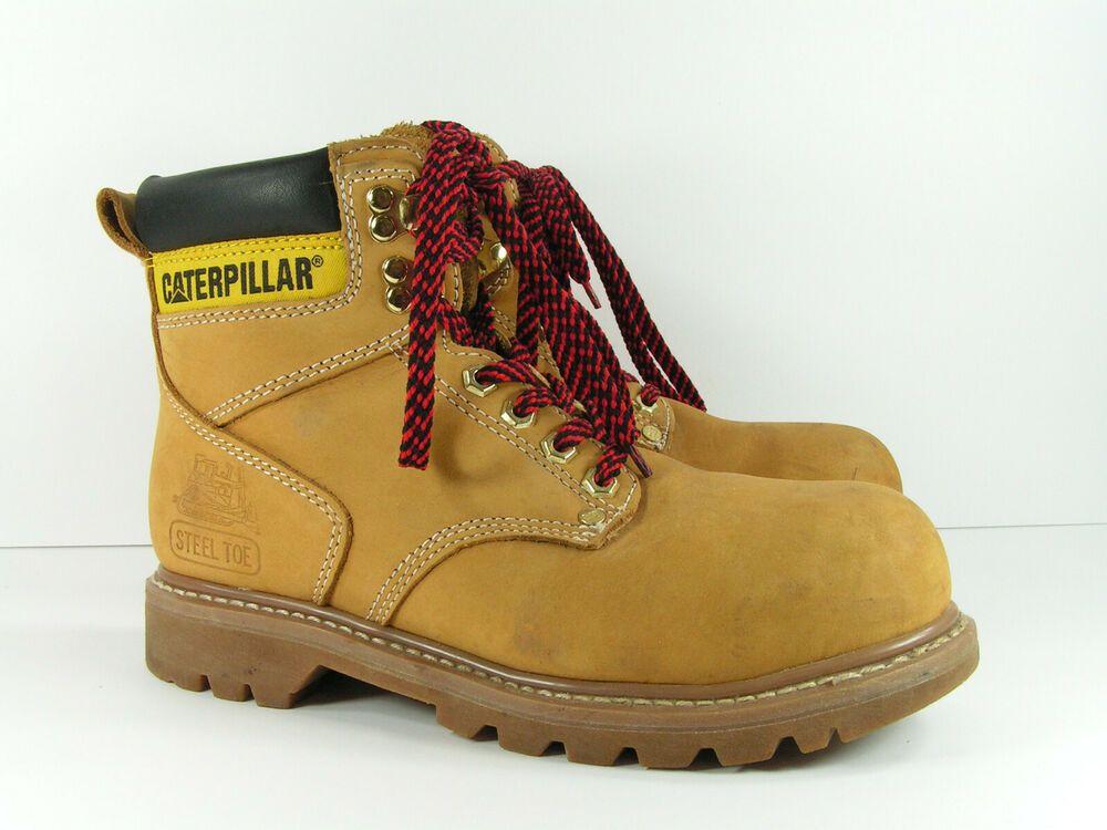 CAT steel toe boots men's 7 tan ankle leather work walking