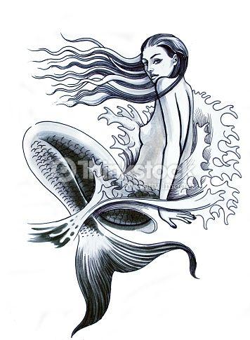 Stock-Illustration : Mermaid tattoo