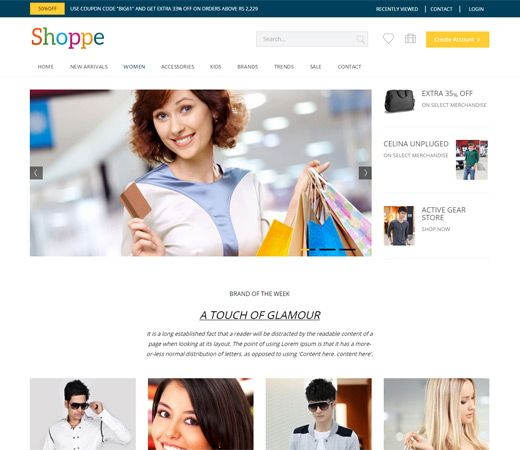 Shoppe A Flat Ecommerce Bootstrap Responsive Web Template Web Template Free Ecommerce Responsive Web