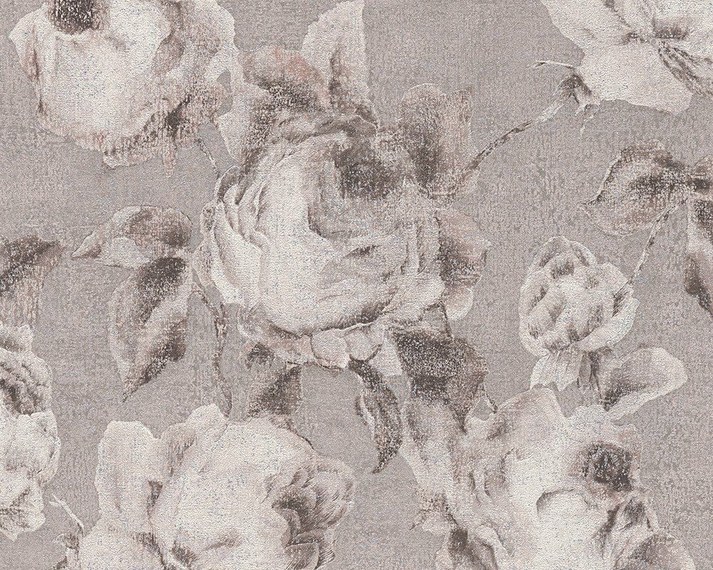 Traditional hallway wallpaper  Traditional Floral Wallpaper in Grey and Beige design by BD Wall