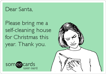 Dear Santa Please Bring Me A Self Cleaning House For Christmas This Year Thank You Cleaning Quotes Funny Christmas Memes Funny Christmas Memes