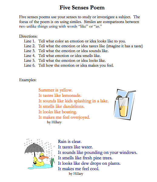Worksheets Imagery Examples