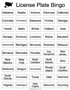 License Plate Bingo Travel Game Road Trips Vacation border=
