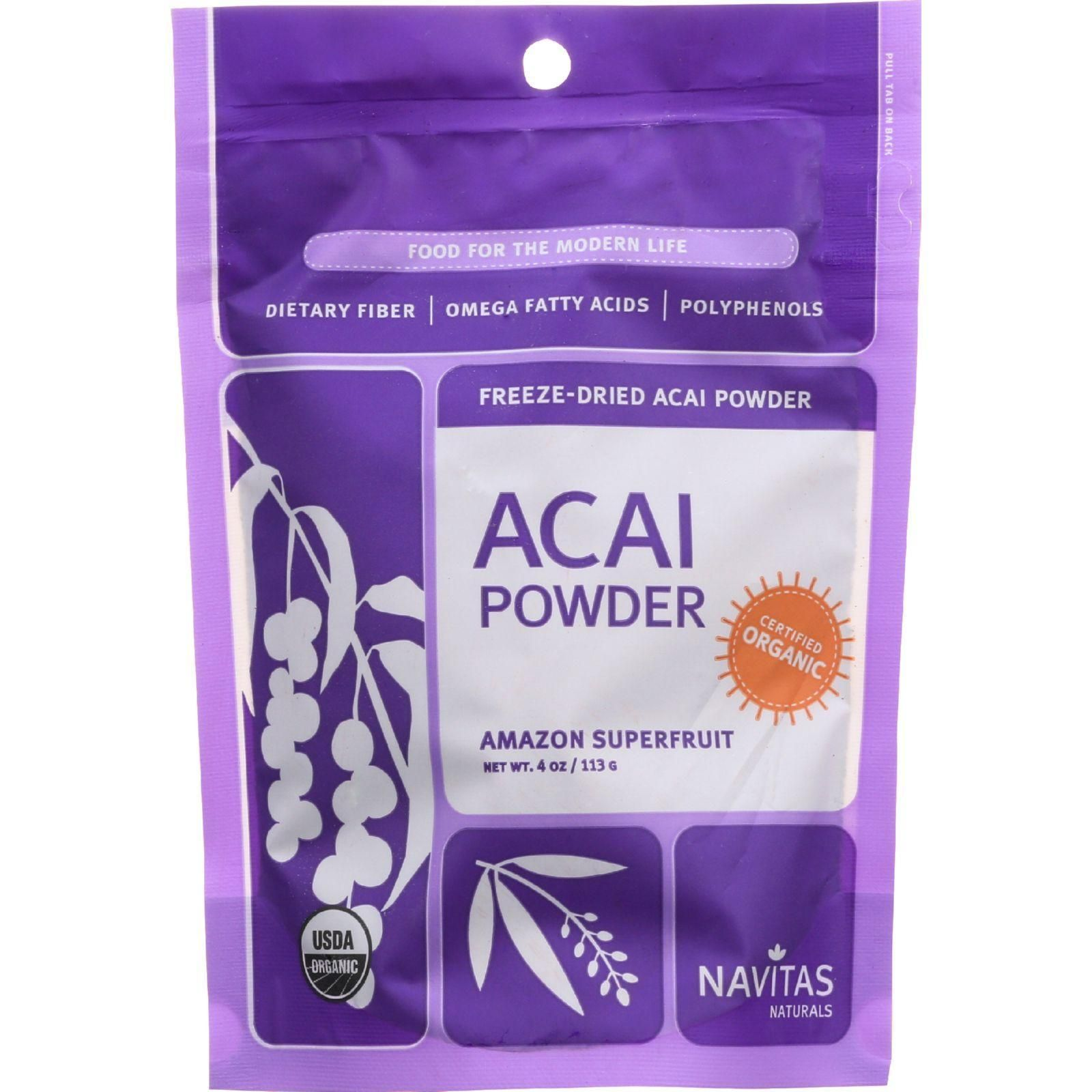 Navitas Naturals Acai Powder - Organic - Freeze-dried - 4 Oz - Case Of 12