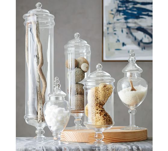 Pb Classic Glass Apothecary Jars In 2020 Bathtub Decor Glass