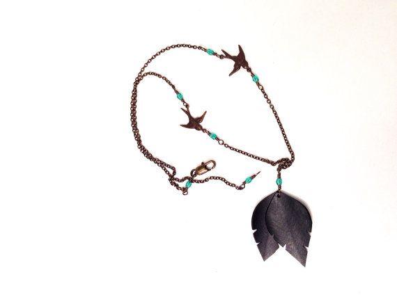 Recycled Bike Tube Bird Necklace on Etsy, $26.00