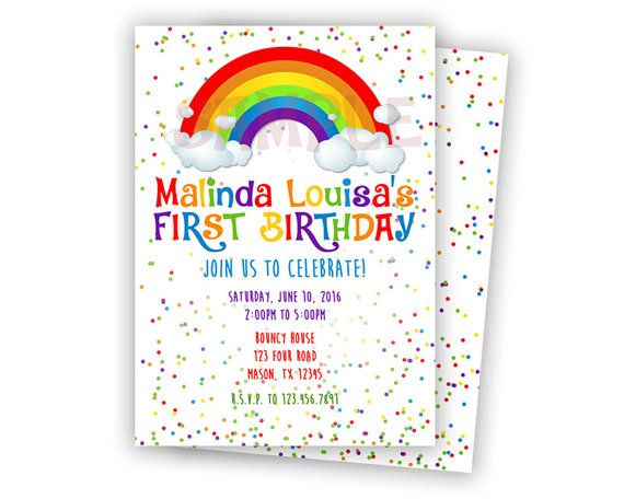 Get the sweet girls 1st birthday rainbow Invitations youve been