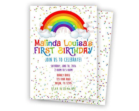 rainbow confetti birthday invitation rainbow invitation rainbow