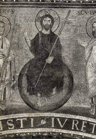 """Basilica di San Lorenzo fuori le mura, Roma, Mosaico """"Cristo con i Santi e Il Papa Pelagio II"""", CRISTO, 578-590"""