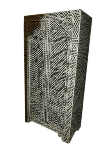 Antique Cabinet Black Floral Bone Inlay Hand Carved India Furniture  54x27x15 | EBay
