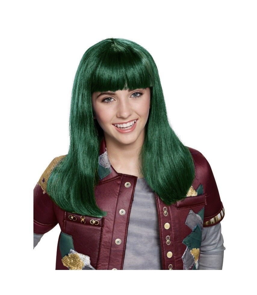 Girls Disney Zombies Eliza Wig Green Hair Halloween Zombie Child