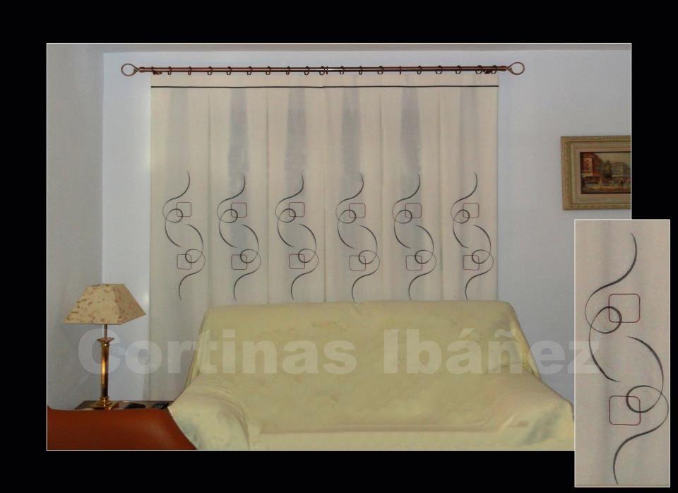Cortinas en visillos de paneles bordados y confeccionados - Cortinas y visillos confeccionados ...
