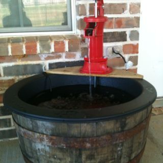 Pin By Gi Devian On For The Home Barrel Fountain Whiskey Barrel Fountain Affordable Backyard Ideas