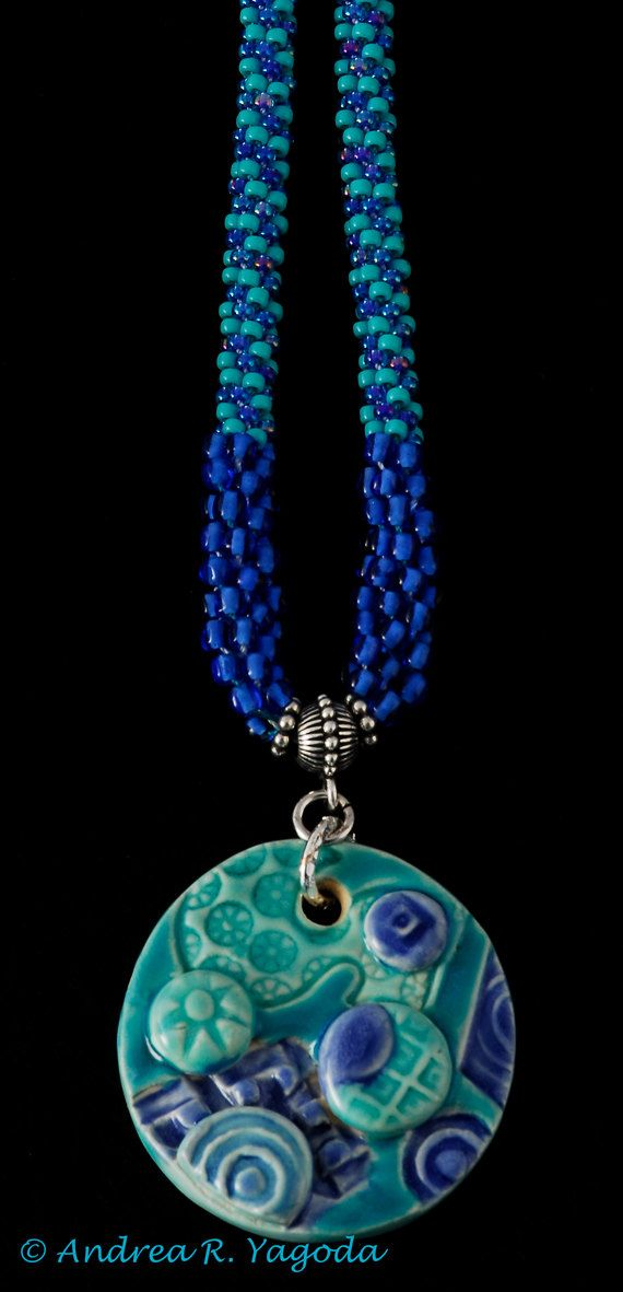 SALE Green Blue Ceramic Pendant Kumihimo Necklace by Beadswork, $35.50