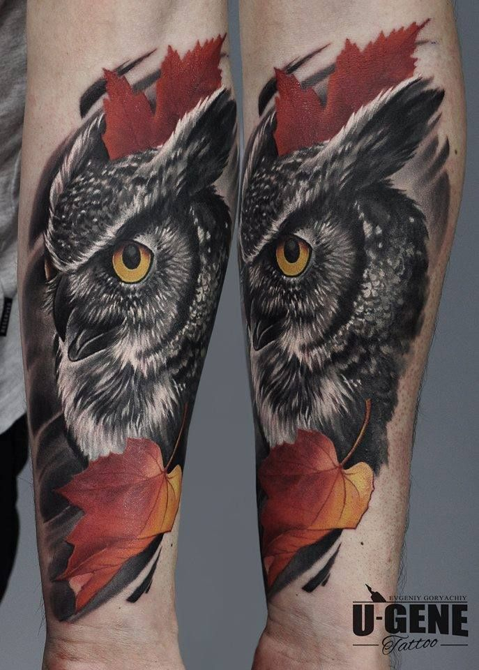 superb realistic owl tattoo by u gene tattoo pinterest. Black Bedroom Furniture Sets. Home Design Ideas
