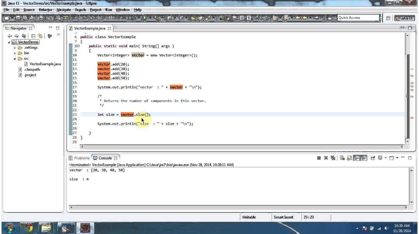 Java : Collection Framework : Vector (Check the Size) | JAVA