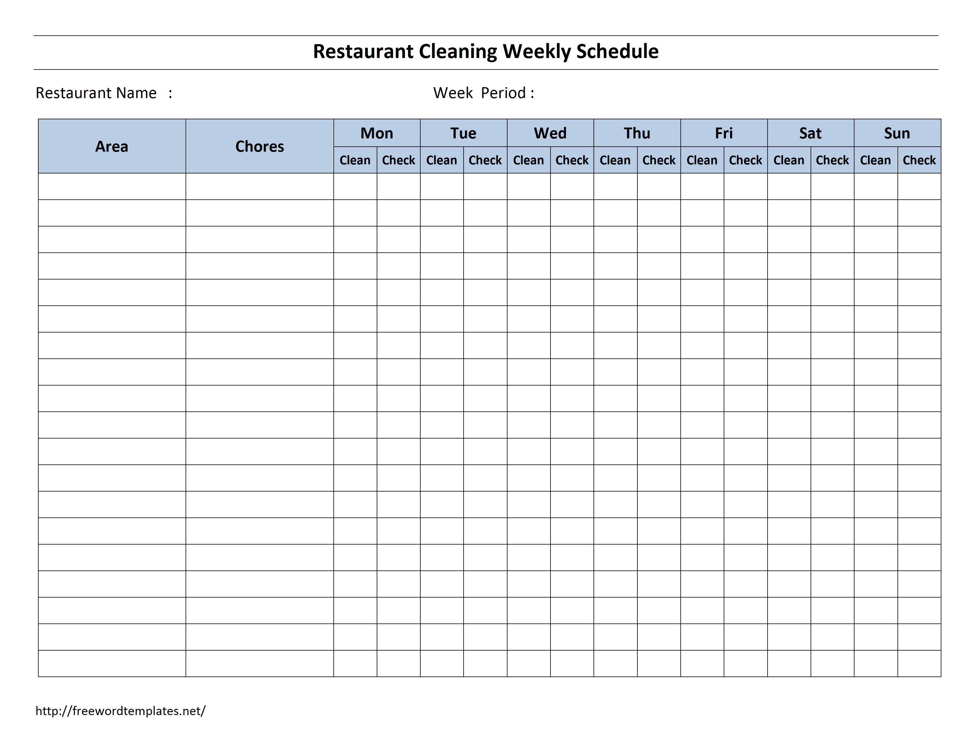 Weekly Cleaning Schedule Template In