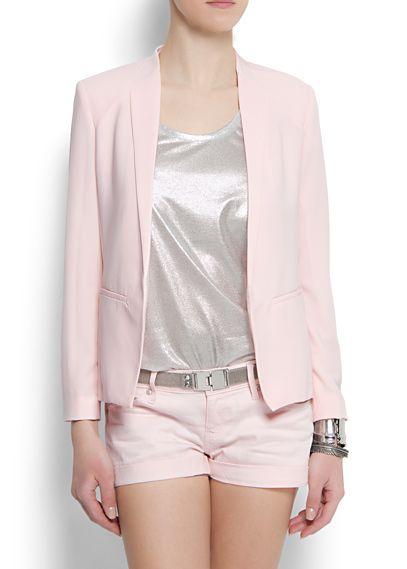 Veste blazer MANGO rose poudrée