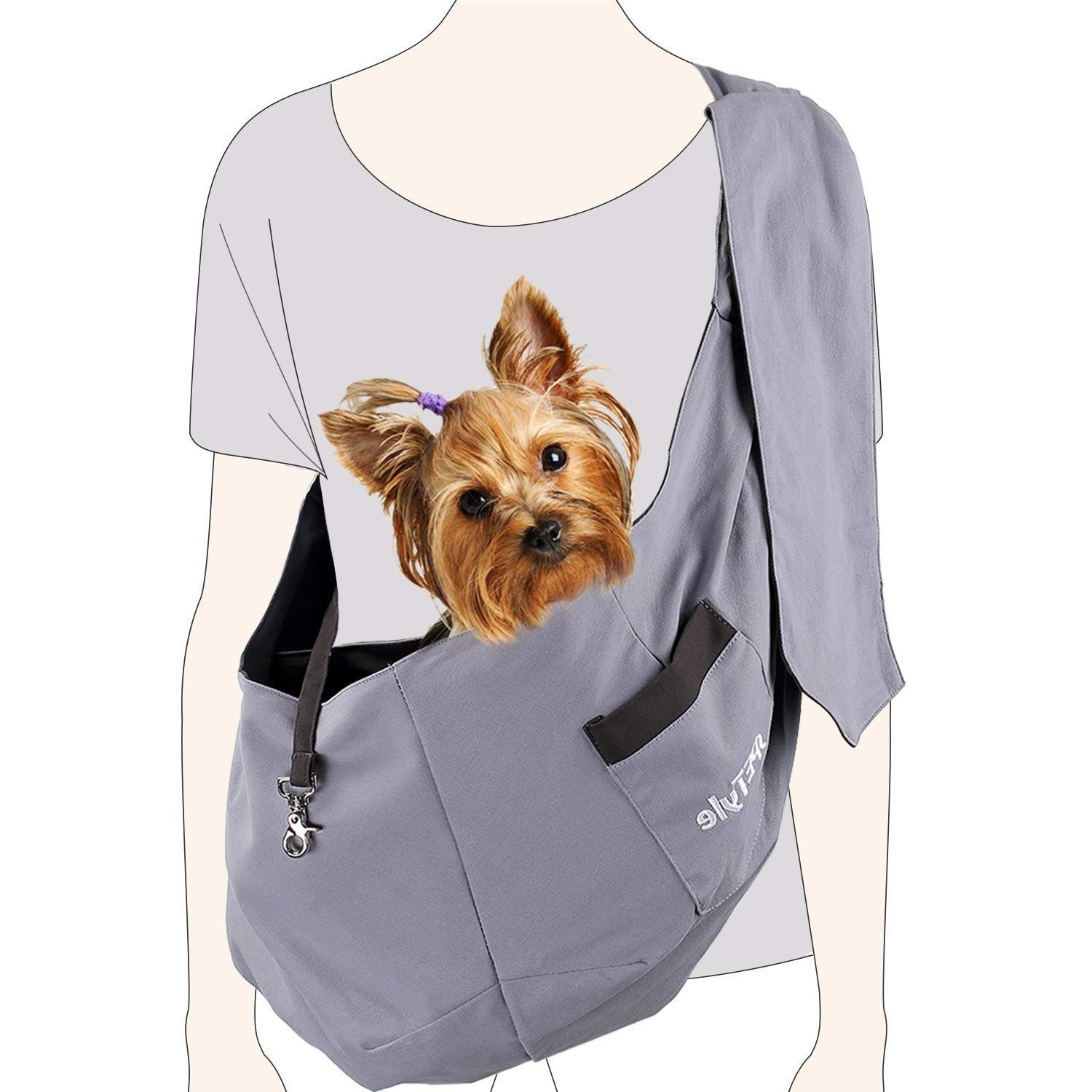 sPETyle Hands Free Reversible Pet Bag Sling Carrier with