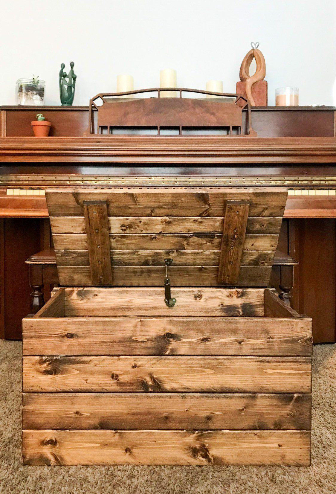 Dnm woods etsy shop rustic wood storage trunk blanket