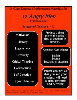 Lessons And Resources For Teaching The Play Twelve Angry Men Kids Act Out The Play In Class Each With A The Critical Thinking Language Art Activities Angry