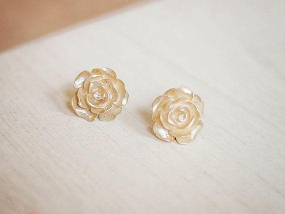 Oro rosa Orecchini Rose Post Orecchini Rose di apocketofposies