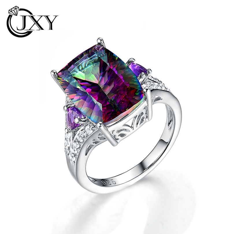latest style Fine Jewelry RAINBOW ring for Women big rings for women cubic zirconia