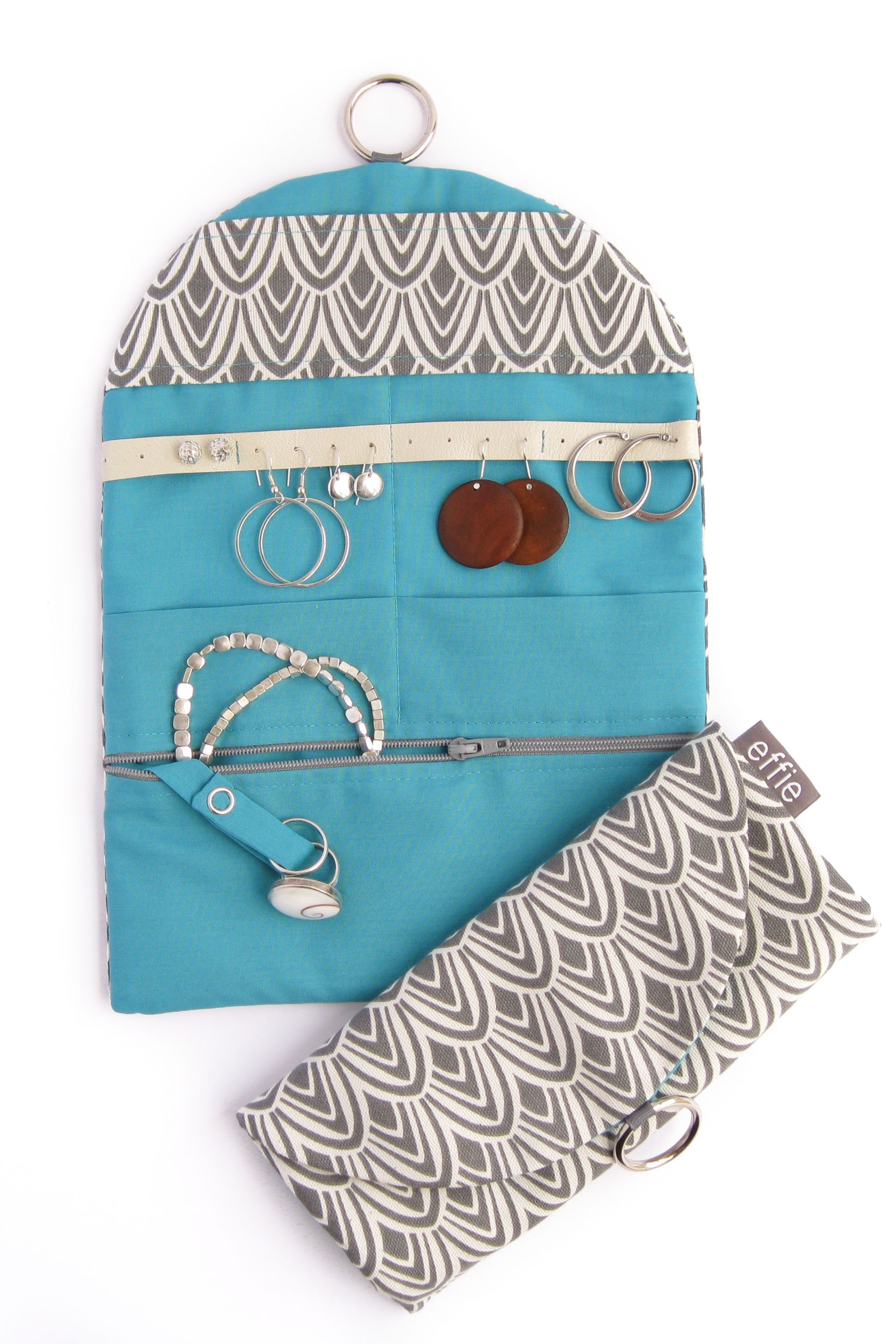 Charcoal and Teal Jewelry Travel Organizer Wanderlust Gifts