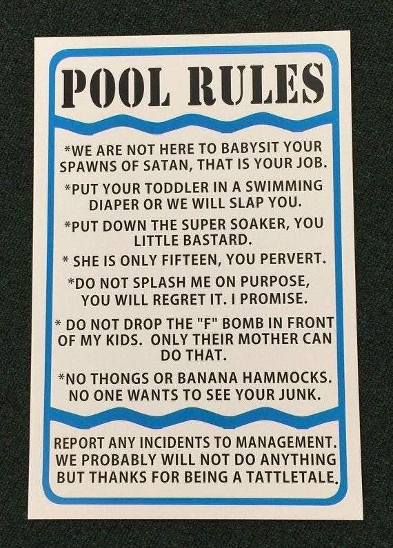 Pool Rules Funny Sign Indoor Outdoor Metal Sign 12 By Safarisigns Pool Rules Outdoor Signs Swimming Pool Signs